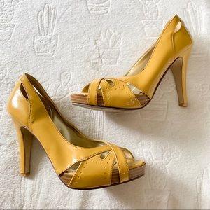 Wild Diva Mustard Yellow Caged like Peep Toe Heels